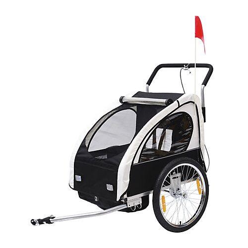 HOMCOM 2 in1 Kinderfahrradanhänger / Jogger   Anhänger Fahrradanhänger Kinder Radanhänger schwarz/weiß