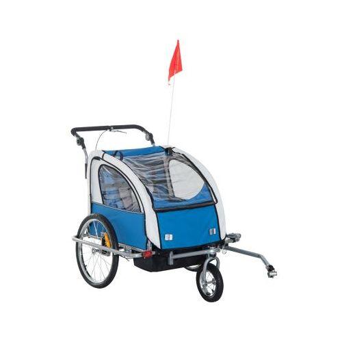 HOMCOM Kinderanhänger 2 in 1 – Fahrradanhänger und Jogger blau/grau