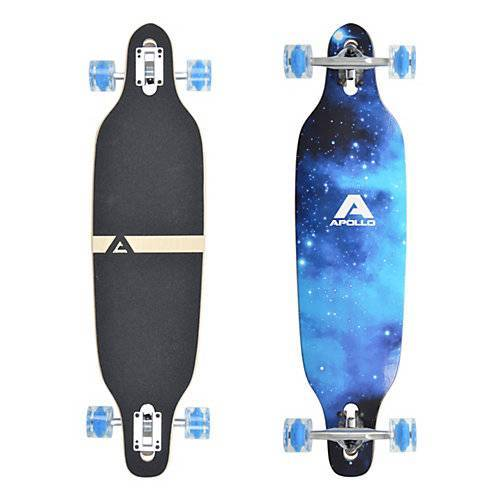 APOLLO Twin Tip DT Longboard Blue Sky - LED Wheels schwarz/blau