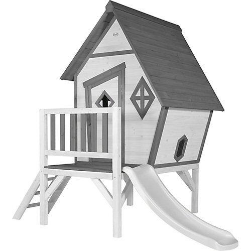Axi Cabin XL Spielhaus Grau/weiß - Weiße Rutsche grau/weiß