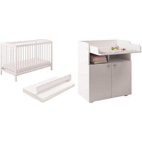 Polini-kids Babyzimmer Set  Gitterbett mit Wickelkommode weiß