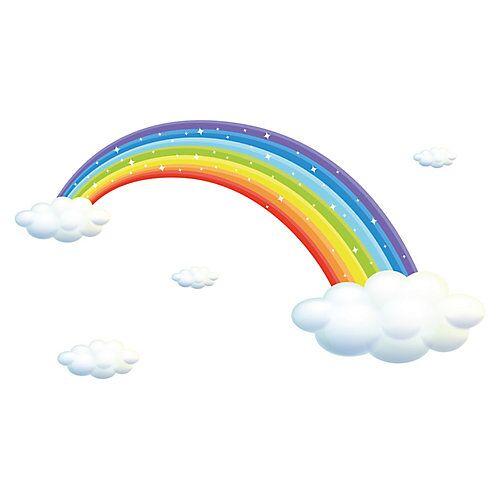dekodino Wandtattoo Regenbogen mit Wolken und Sternen funkelnd Wandtattoos mehrfarbig