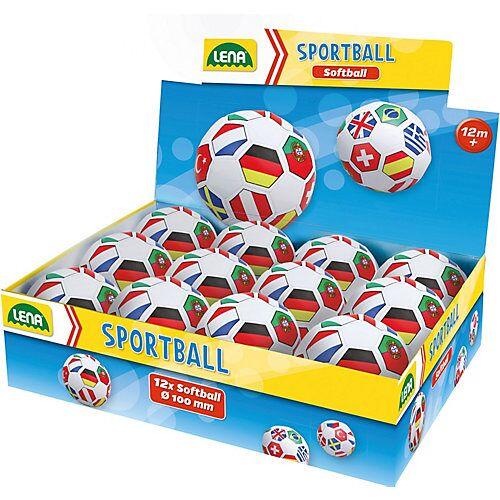 LENA Soft-Fußball 10 cm, Flaggen, 12 Stück