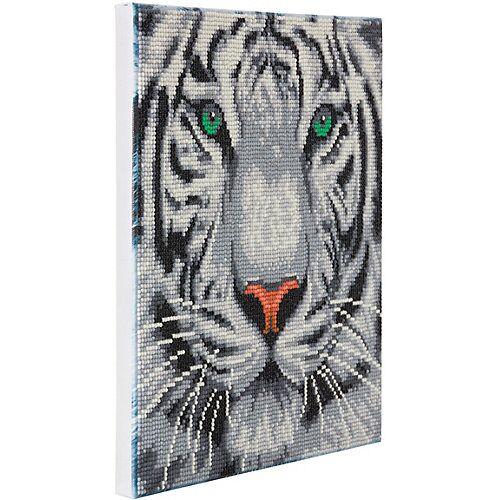 CRAFT Buddy Crystal Art Kit auf Holzrahmen-Leinwand - Weißer Tiger, 30 x 30 cm mehrfarbig