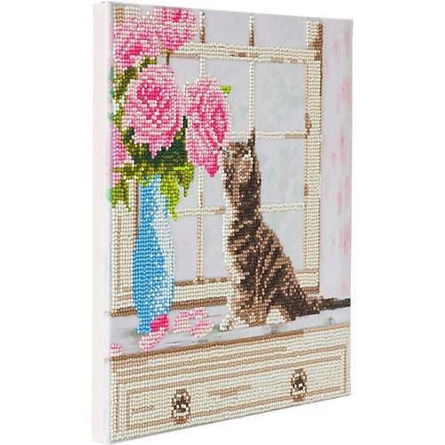 CRAFT Buddy Crystal Art Kit auf Holzrahmen-Leinwand - Katze, 30 x 30 cm mehrfarbig