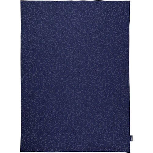 Alvi Babydecke Jersey Hearts navy, 75 x 100 cm blau