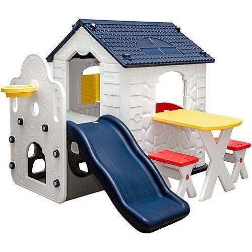 LittleTom Kinder Spielhaus ab 1 - Garten Kinderspielhaus mit Rutsche weiß