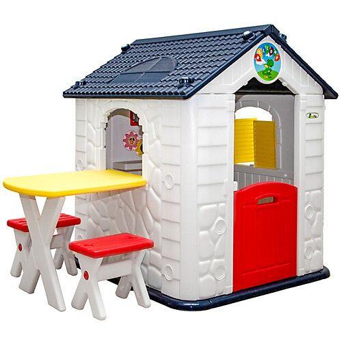 LittleTom Kinder Spielhaus ab 1 - Garten Kinderspielhaus mit Tisch weiß
