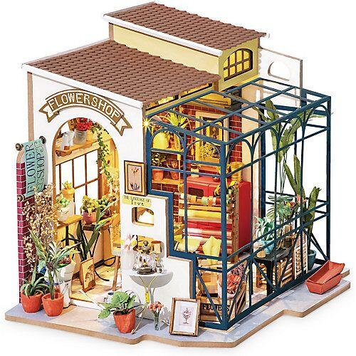 Emily's Flower Shop - 3D-Holzpuzzle Miniaturhaus-Bastelset, 258 Teile