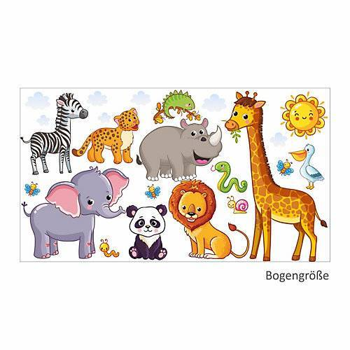 nikima Wandtattoo 080 Wandtattoo Tiere Kinderzimmer Elefant Löwe Giraffe Wandtattoos bunt