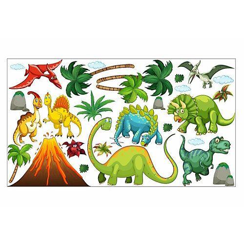 nikima Wandtattoo 017 Dinosaurier Vulkan Dino Rex - in 6 vers. Größen Wandtattoos bunt