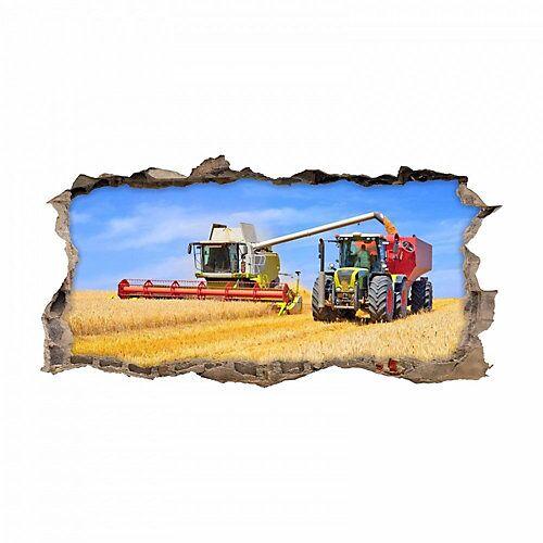 nikima Wandtattoo 134 Mähdrescher und Traktor - Loch in der Wand - in 6 vers. Größen Wandtattoos bunt