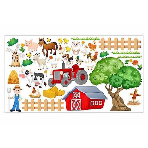 nikima Wandtattoo 020 Bauernhof Tiere Schwein Schaf Kuh Hund - in 6 vers. Größen Wandtattoos bunt