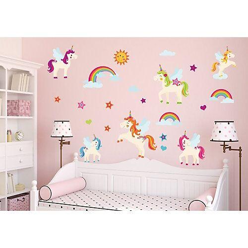 nikima Wandtattoo 018 Wandtattoo Einhörner Regenbogen Unicorn bunt Wolken Sonne Sterne Wandtattoos