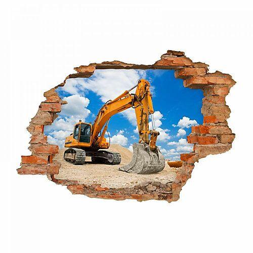 nikima Wandtattoo 049 Bagger - Loch in der Wand - in 6 vers. Größen Wandtattoos bunt