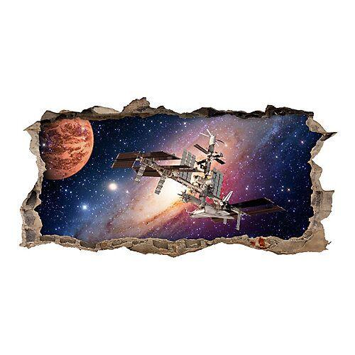 nikima Wandtattoo 175 Weltall Raumstation - Loch in der Wand in 6 vers. Größen Wandtattoos bunt