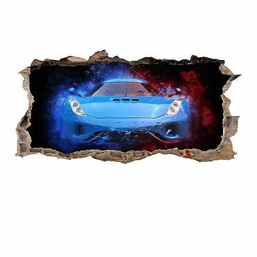 nikima Wandtattoo 107 Sportwagen blau - Loch in der Wand in 6 vers. Größen Wandtattoos bunt