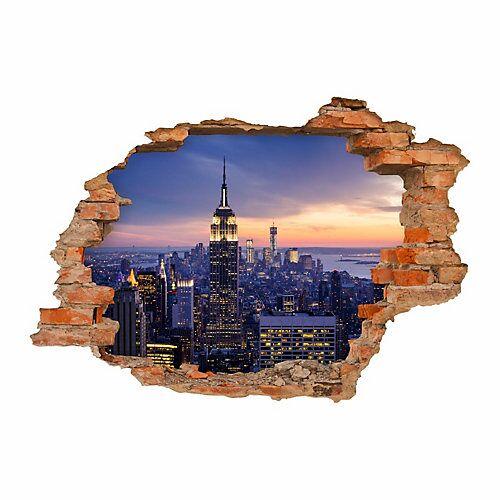 nikima Wandtattoo 145 New York Empire State Building - Loch in der Wand in 6 vers. Größen Wandtattoos bunt