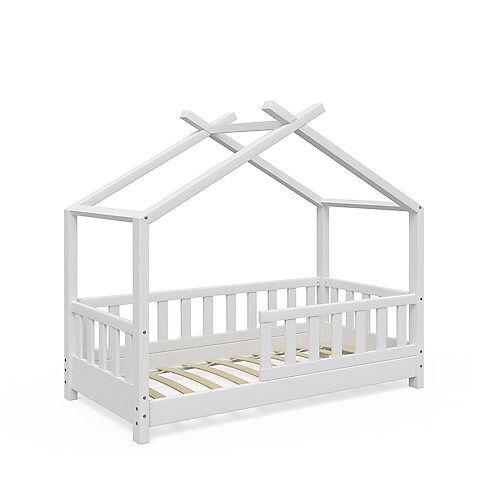 Kinderbett Design 70x140 cm mit Zaun Weiß weiß