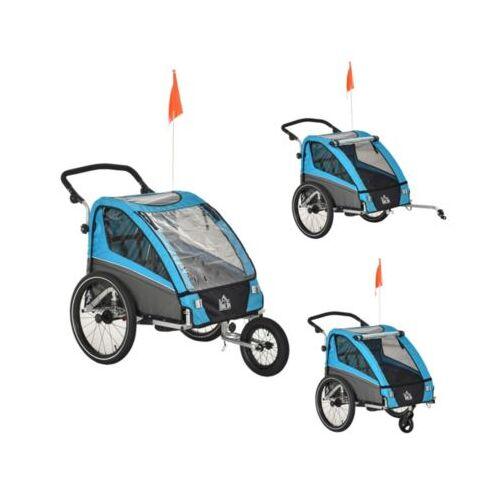 HOMCOM 3in1 Kinderwagen auch als Jogger und Fahrradanhänger blau