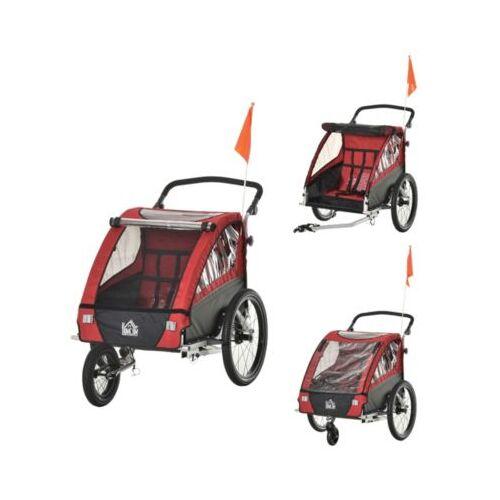 HOMCOM 3in1 Kinderwagen auch als Jogger und Fahrradanhänger rot
