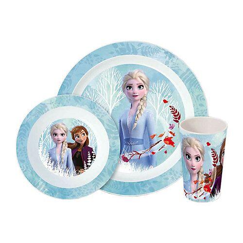 P:OS Frozen Kinder Frühstücksset 3-teilig Kindergeschirrsets blau