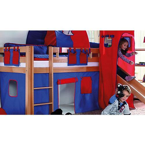 Relita Vorhangset Spielbett KIM, ALEX mit Turm, blau/rot  Kinder