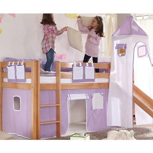 Relita Vorhangset Spielbett KIM, ALEX mit Turm, lila/weiß Herz  Kinder