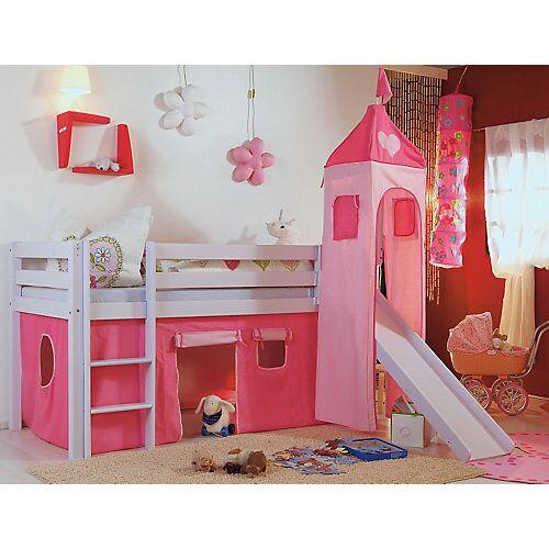 Relita Vorhangset Spielbett KIM, ALEX mit Turm, pink/rosa Herz  Kinder