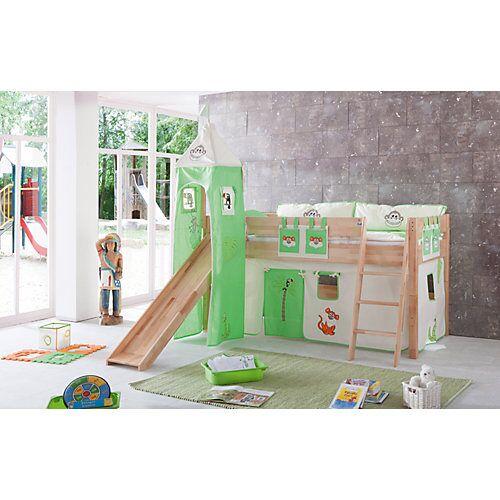 Relita Vorhangset mit Turm Spielbetten, Dschungel grün  Kinder