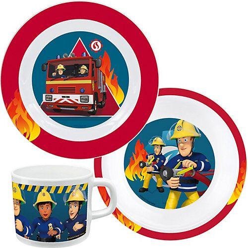 P:OS Kindergeschirr Melamin Feuerwehrmann Sam, 3-tlg. blau/rot