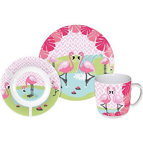 P:OS Kindergeschirr  Porzellan Flamingo, 3-tlg. rosa