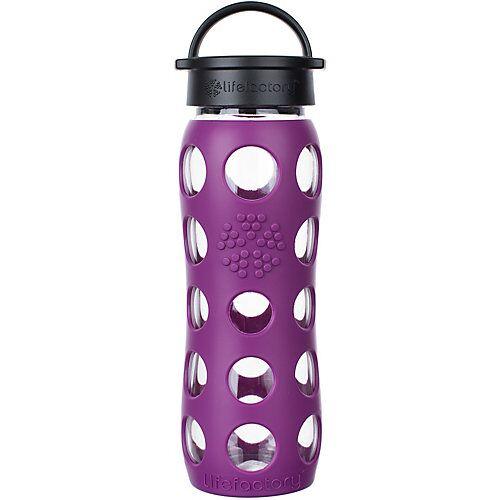 Lifefactory Glas-Trinkflasche, Classic Cap, plum, 650ml violett