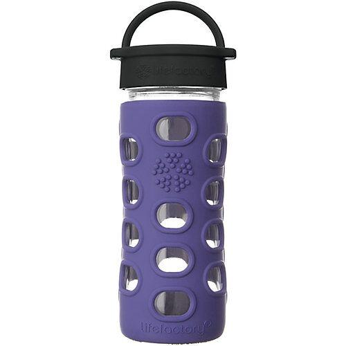 Lifefactory Glas-Trinkflasche, Classic Cap, iris, 350ml violett