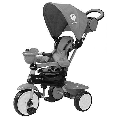 QPlay Dreirad Komfort 4 in 1 - Jungen und Mädchen - Grau grau