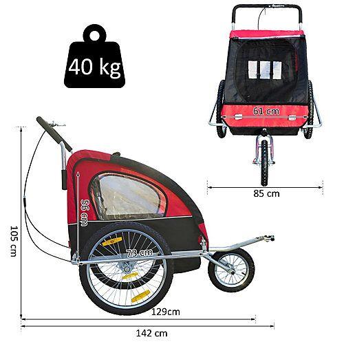 HOMCOM 2 in1 Kinderfahrradanhänger / Jogger   Anhänger Fahrradanhänger Kinder Radanhänger schwarz/rot