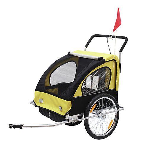 HOMCOM 2 in1 Kinderfahrradanhänger / Jogger   Anhänger Fahrradanhänger Kinder Radanhänger schwarz/gelb