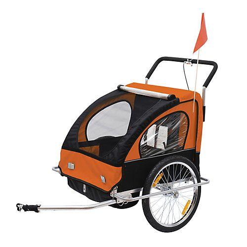 HOMCOM 2 in1 Kinderfahrradanhänger / Jogger   Anhänger Fahrradanhänger Kinder Radanhänger orange/schwarz