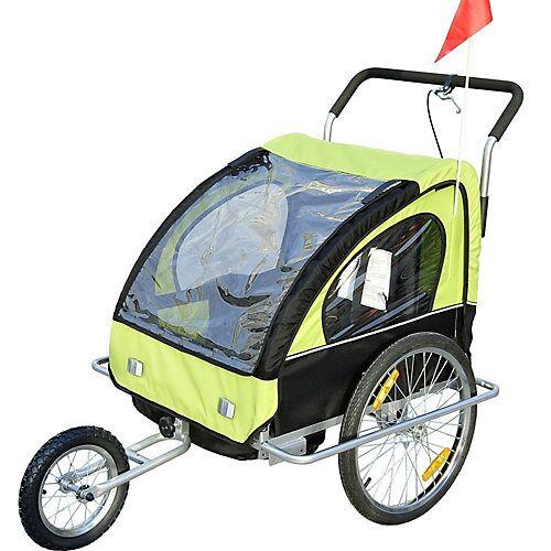 HOMCOM 2 in1 Kinderfahrradanhänger / Jogger   Anhänger Fahrradanhänger Kinder Radanhänger schwarz/grün