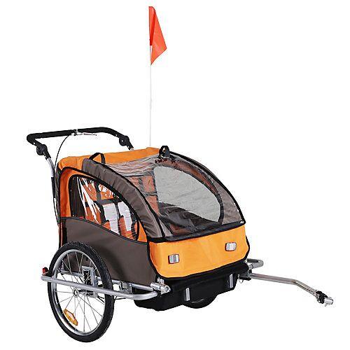 HOMCOM Kinderanhänger 2 in 1  Fahrradanhänger und Jogger orange