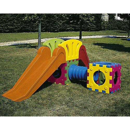 italveneta didattica Cubic Toy Rutschenturm mit Treppe, langer Rutsche, Tunnel, Würfel bunt