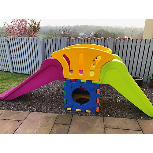 italveneta didattica Cubic Toy Rutschenturm mit Treppe und langer Rutsche bunt