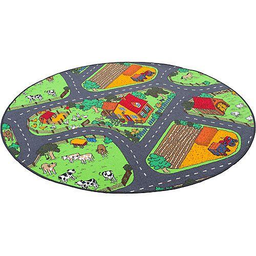 Snapstyle Kinder Spiel Teppich Bauernhof Rund Spielteppiche grün/anthrazit