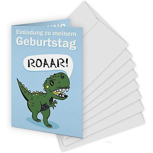 Kartenkuss Einladungskarten Dinosaurier, 8 Stück inkl. Umschläge grün
