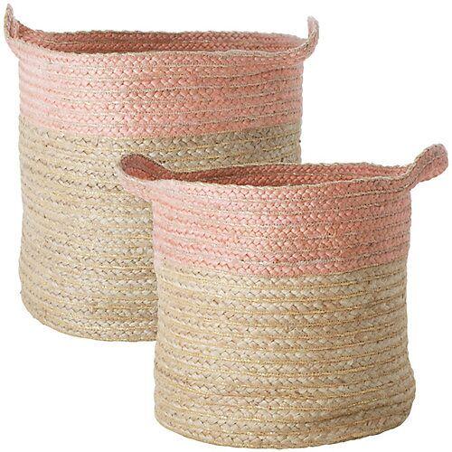 rice 2-tlg.Aufbewahrungskorb, rund, geflochten mit rosa Rand und Griffen natur