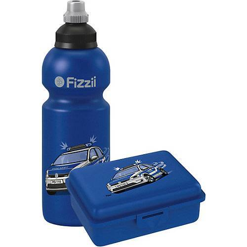Fizzii Pausenset, Trinkflasche & Brotdose Polizei blau