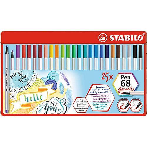 STABILO Filzstifte Pen 68 brush, 25 Stifte in 19 Farben, Metalletui