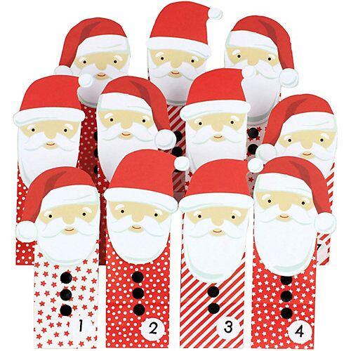 PAPIERDRACHEN Adventskalender Tüten groß gestanzt - Weihnachtsmann - Rot rot