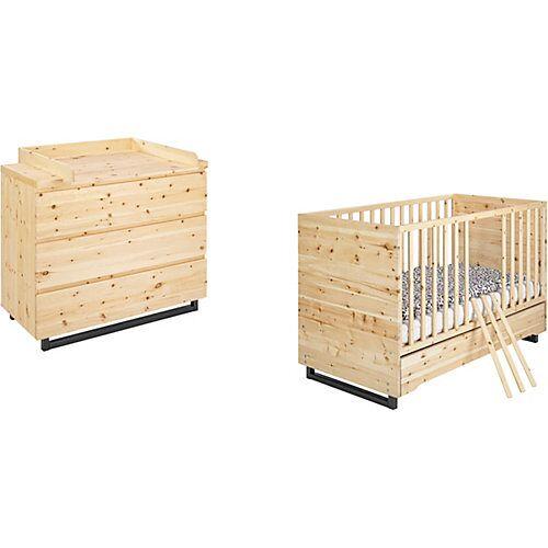 Schardt Kinderzimmer Sparset Zirbenholz - Kombi-Kinderbett und Wickelkommode