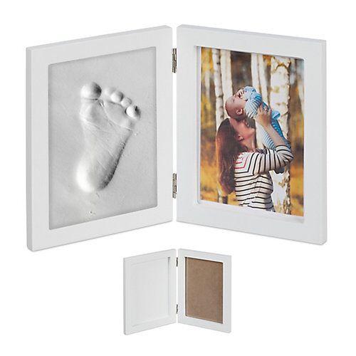 relaxdays 2x Bilderrahmen mit Gipsabdruck Baby Handabdruck Set Fußabdruck Gips Babyabdruck weiß